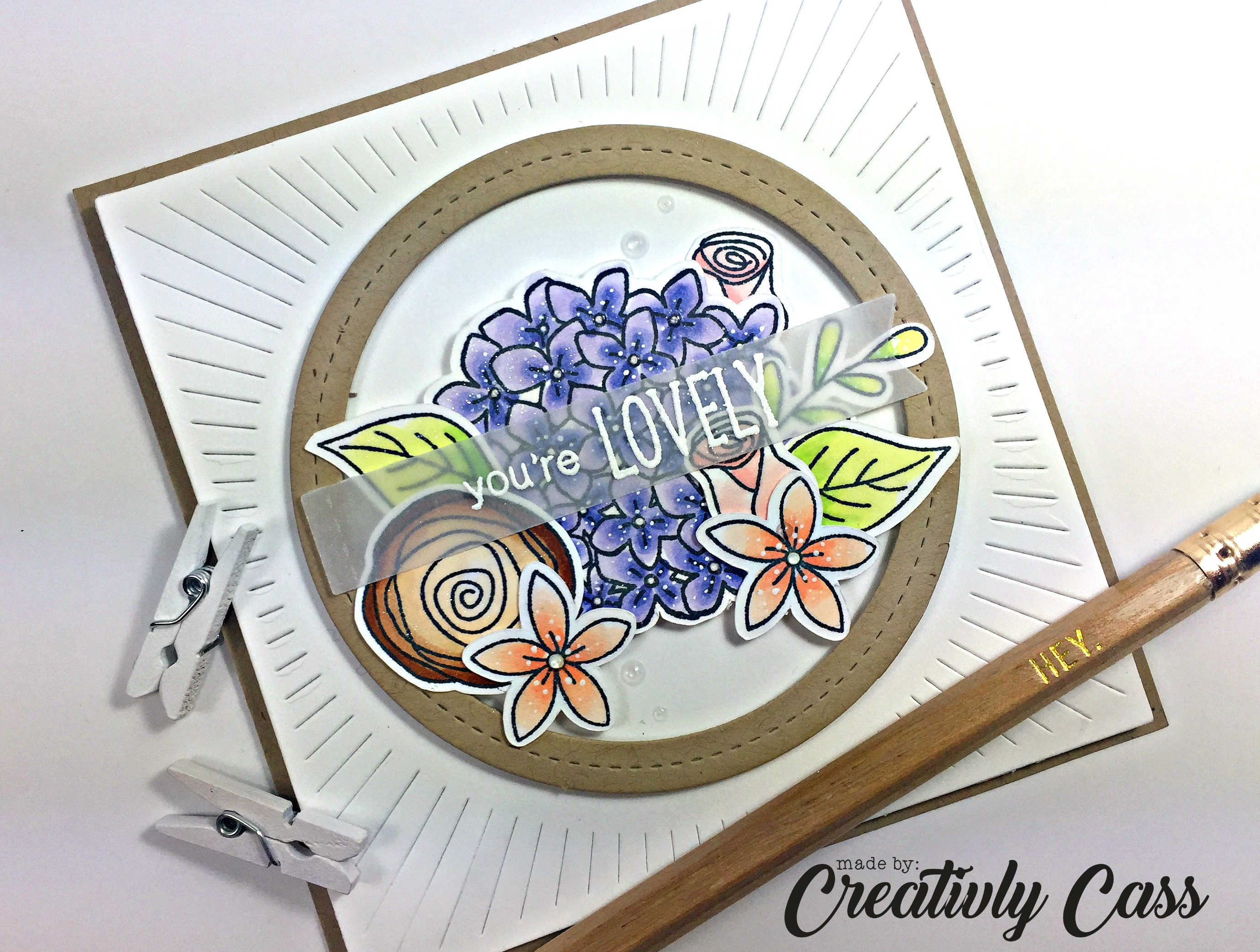 You're Lovely Card by May Guest a designer Cassie Tezak | Lovely Blooms Stamp set by Newton's Nook Designs #newtonsnook