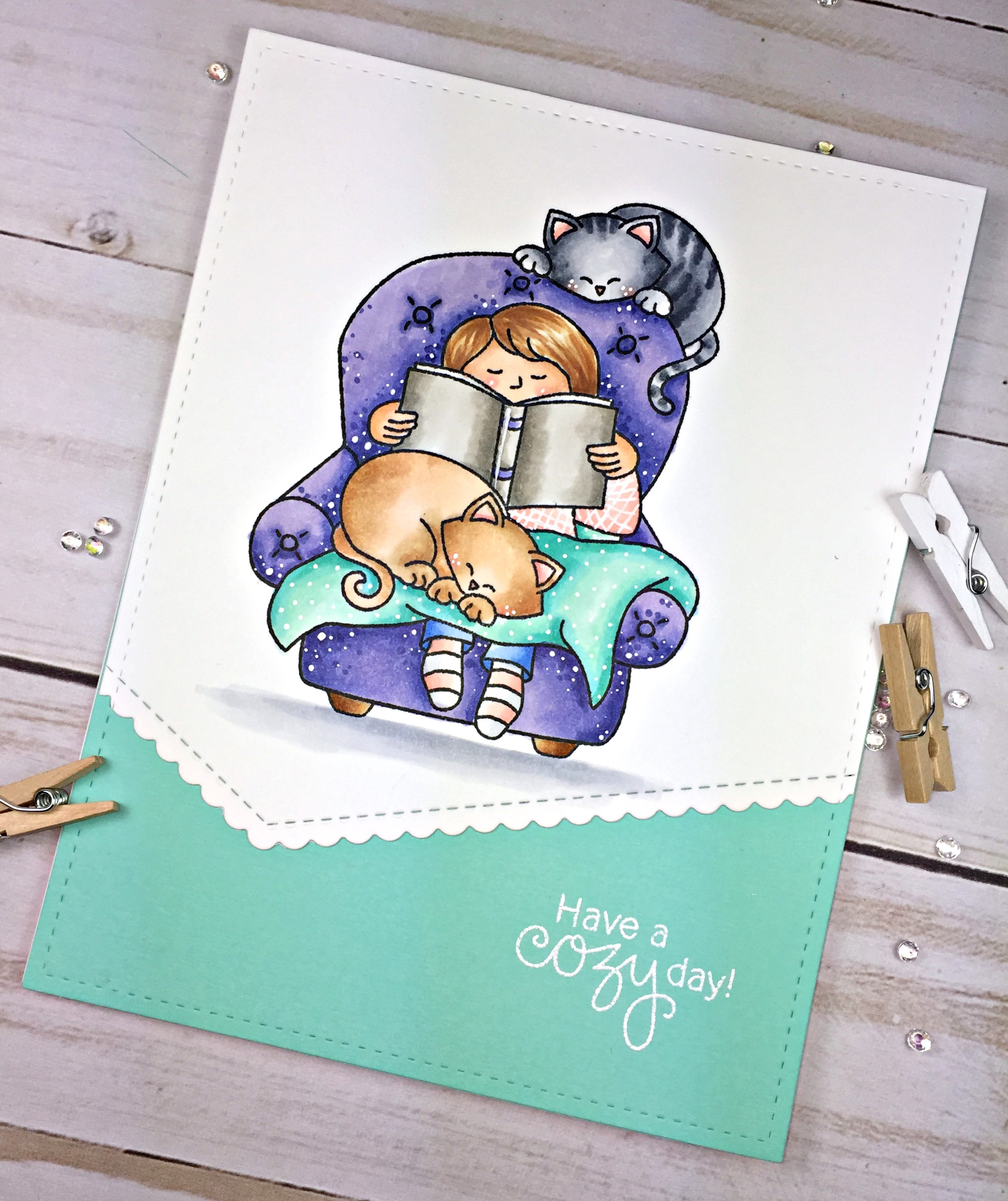 Cozy Kitty Card by May Guest Designer Cassie Tezak | A Cozy Day In Stamp set by Newton's Nook Designs #newtonsnook