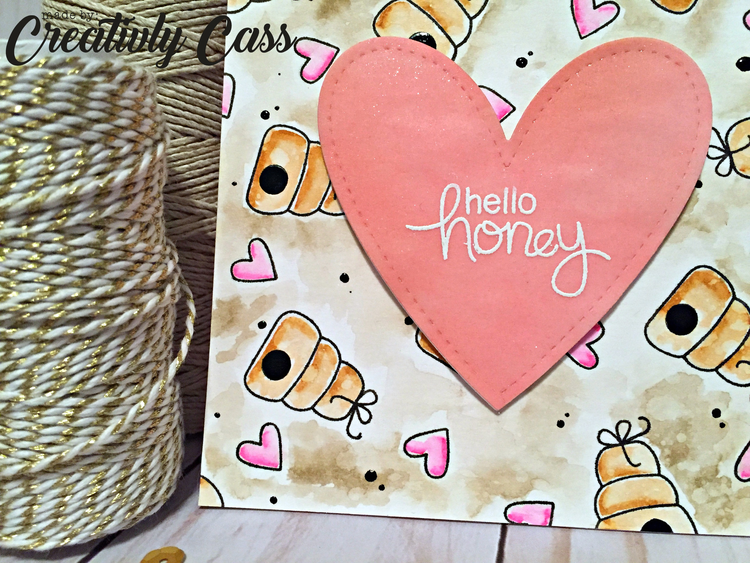 Hello Honey Card by May Guest Designer Cassie Tezak | Winston's Honeybees Stamp set by Newton's Nook Designs #newtonsnook