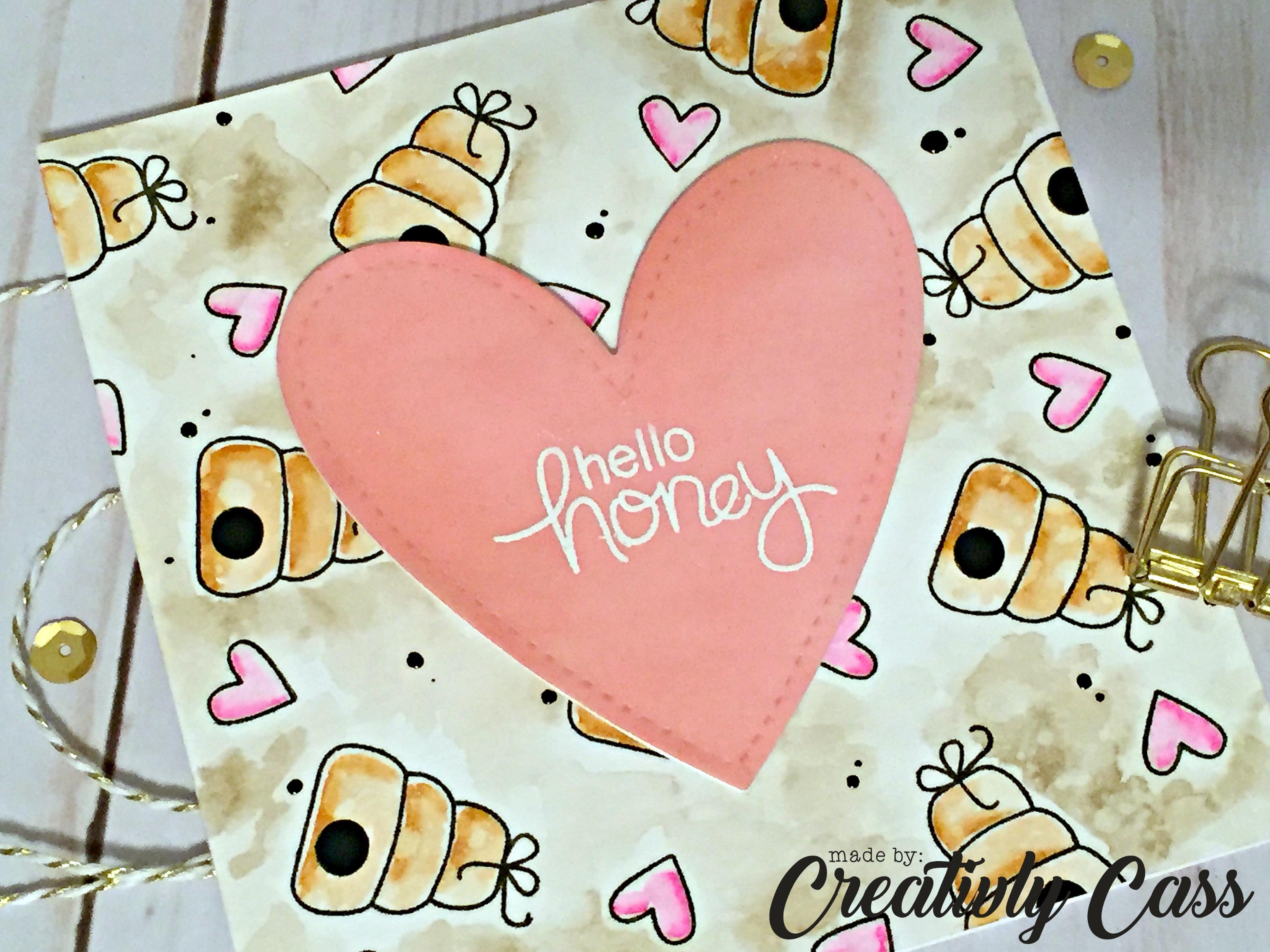 Hello Honey Card by May Guest Designer Cassie Tezak | Winston's Honeybees Stamp set by Newton's Nook Designs #newtonsnook