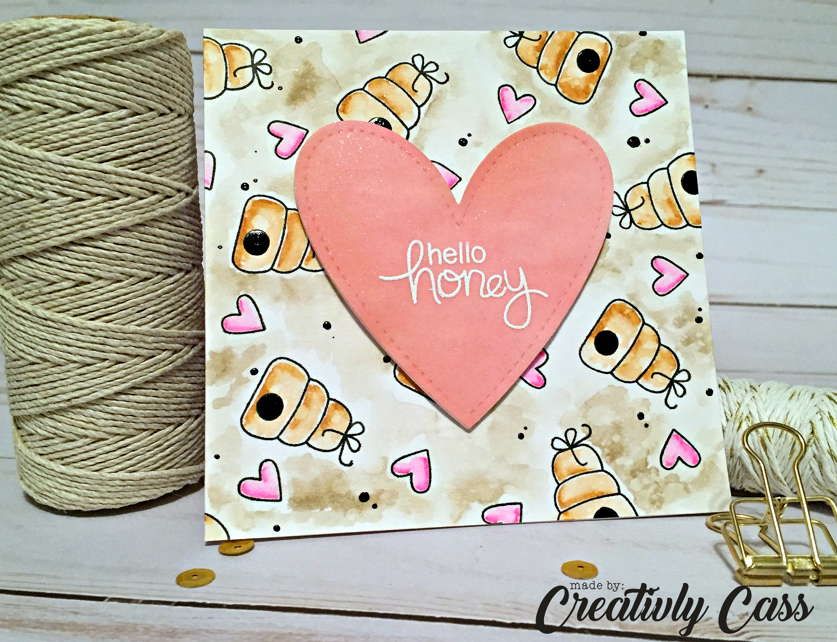 IMG_1001Hello Honey Card by May Guest Designer Cassie Tezak | Winston's Honeybees Stamp set by Newton's Nook Designs #newtonsnook